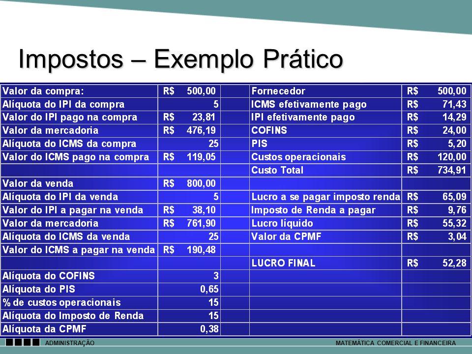 Impostos – Exemplo Prático