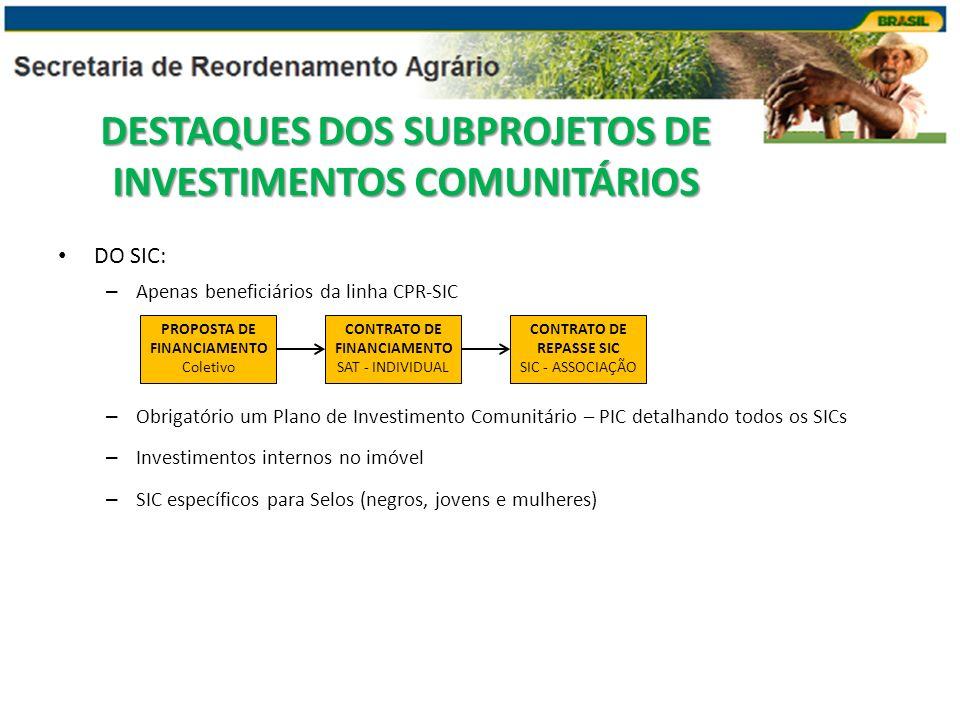 DESTAQUES DOS SUBPROJETOS DE INVESTIMENTOS COMUNITÁRIOS