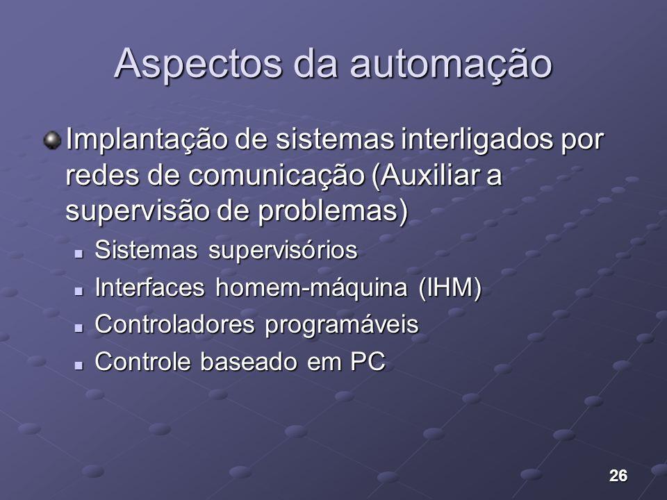 Aspectos da automação Implantação de sistemas interligados por redes de comunicação (Auxiliar a supervisão de problemas)