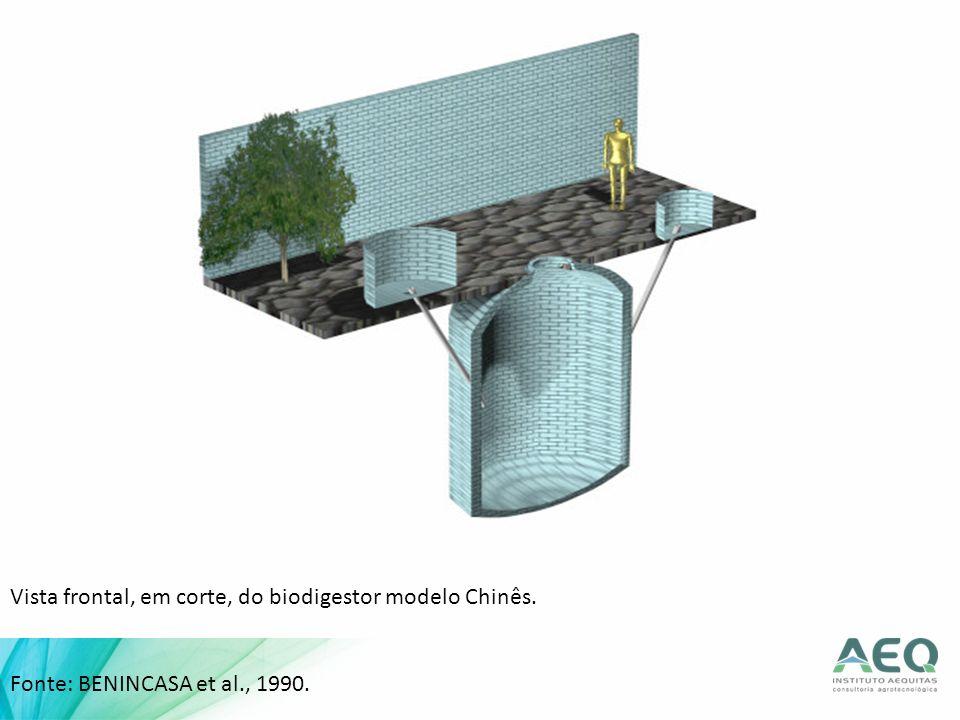 Vista frontal, em corte, do biodigestor modelo Chinês.