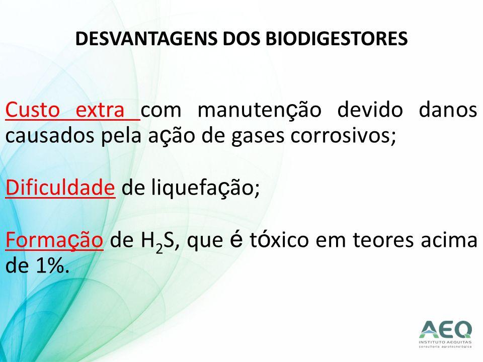 DESVANTAGENS DOS BIODIGESTORES