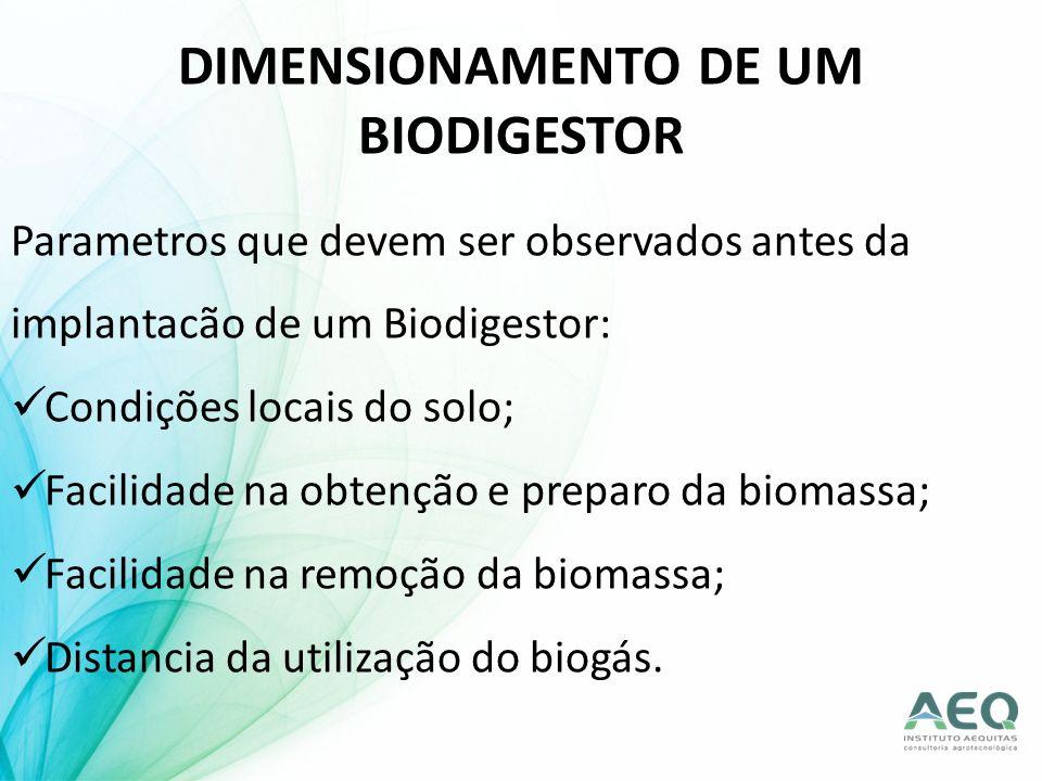 DIMENSIONAMENTO DE UM BIODIGESTOR