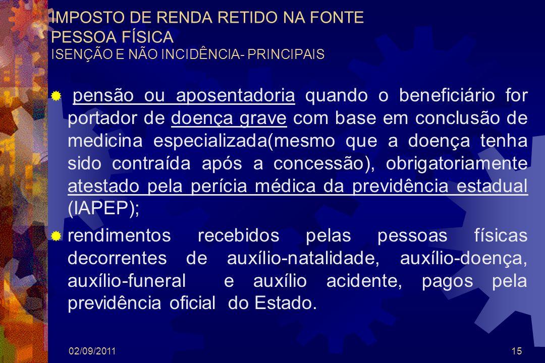 IMPOSTO DE RENDA RETIDO NA FONTE PESSOA FÍSICA ISENÇÃO E NÃO INCIDÊNCIA- PRINCIPAIS