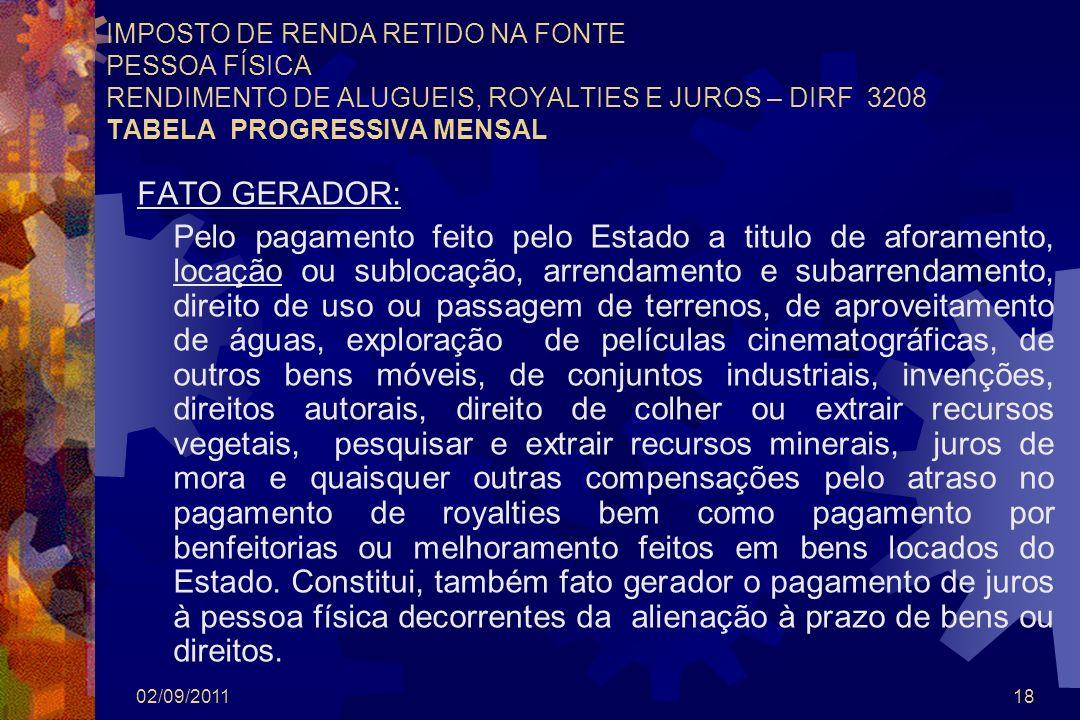 IMPOSTO DE RENDA RETIDO NA FONTE PESSOA FÍSICA RENDIMENTO DE ALUGUEIS, ROYALTIES E JUROS – DIRF 3208 TABELA PROGRESSIVA MENSAL