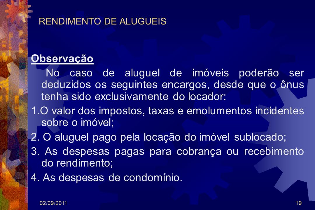 RENDIMENTO DE ALUGUEIS