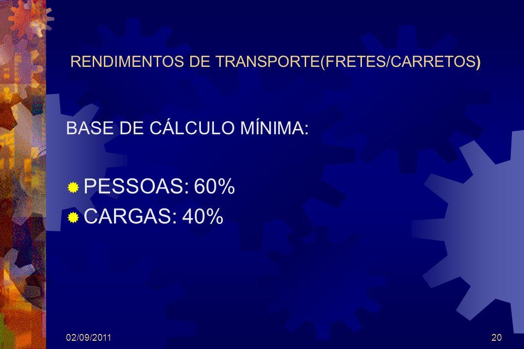 RENDIMENTOS DE TRANSPORTE(FRETES/CARRETOS)