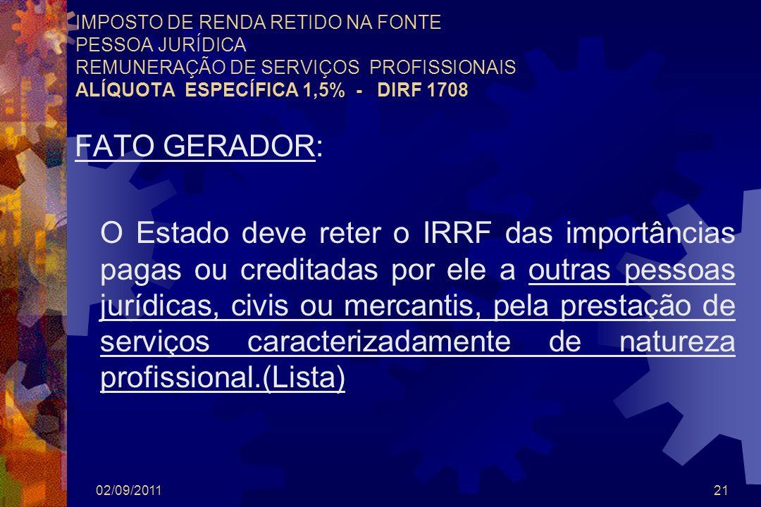 IMPOSTO DE RENDA RETIDO NA FONTE PESSOA JURÍDICA REMUNERAÇÃO DE SERVIÇOS PROFISSIONAIS ALÍQUOTA ESPECÍFICA 1,5% - DIRF 1708