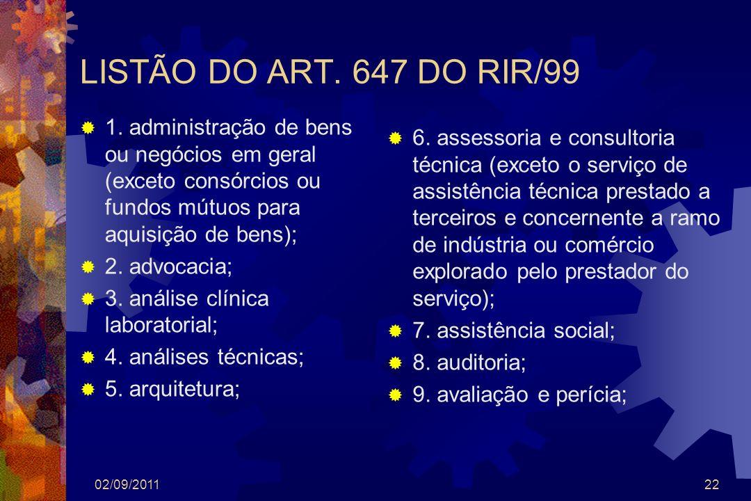 LISTÃO DO ART. 647 DO RIR/99 1. administração de bens ou negócios em geral (exceto consórcios ou fundos mútuos para aquisição de bens);