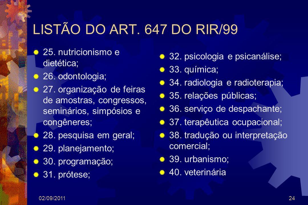 LISTÃO DO ART. 647 DO RIR/99 25. nutricionismo e dietética;