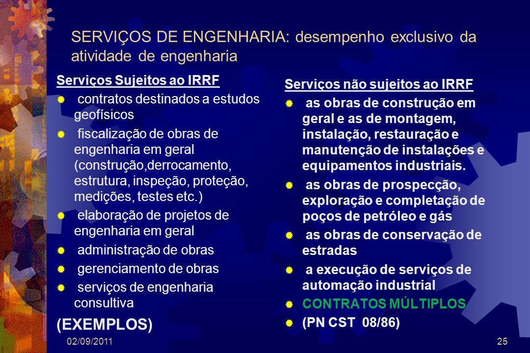 SERVIÇOS DE ENGENHARIA: desempenho exclusivo da atividade de engenharia