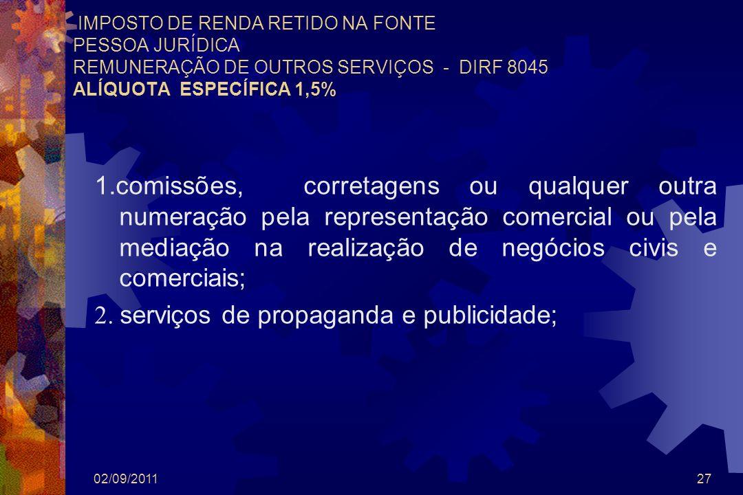 2. serviços de propaganda e publicidade;