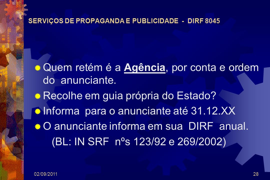 SERVIÇOS DE PROPAGANDA E PUBLICIDADE - DIRF 8045