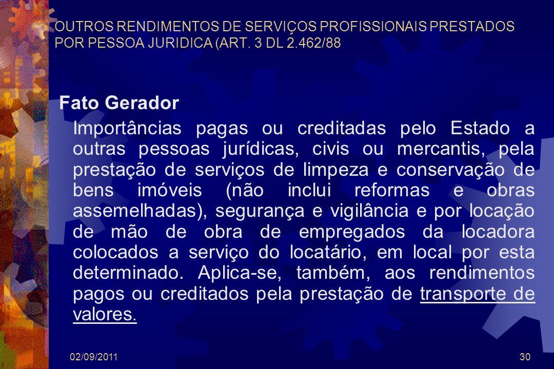 OUTROS RENDIMENTOS DE SERVIÇOS PROFISSIONAIS PRESTADOS POR PESSOA JURIDICA (ART. 3 DL 2.462/88