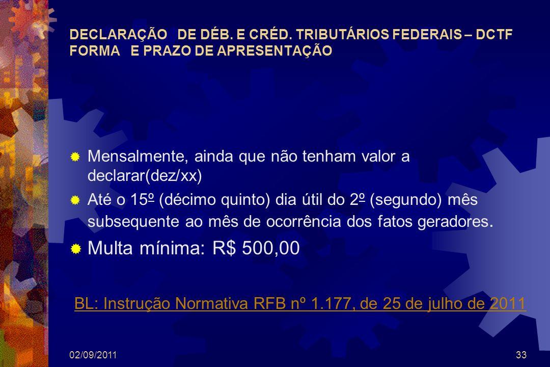 BL: Instrução Normativa RFB nº 1.177, de 25 de julho de 2011