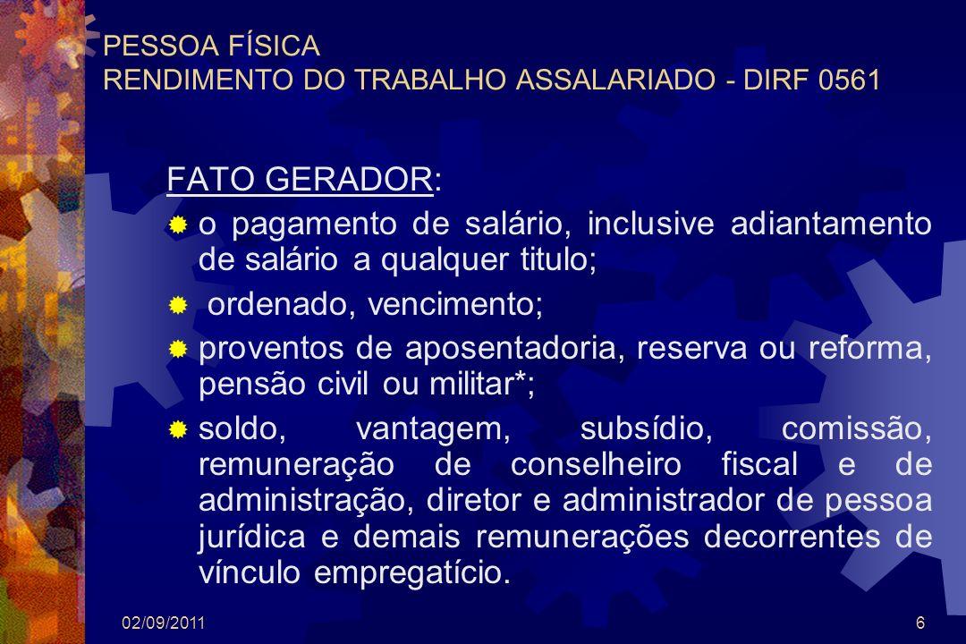 PESSOA FÍSICA RENDIMENTO DO TRABALHO ASSALARIADO - DIRF 0561
