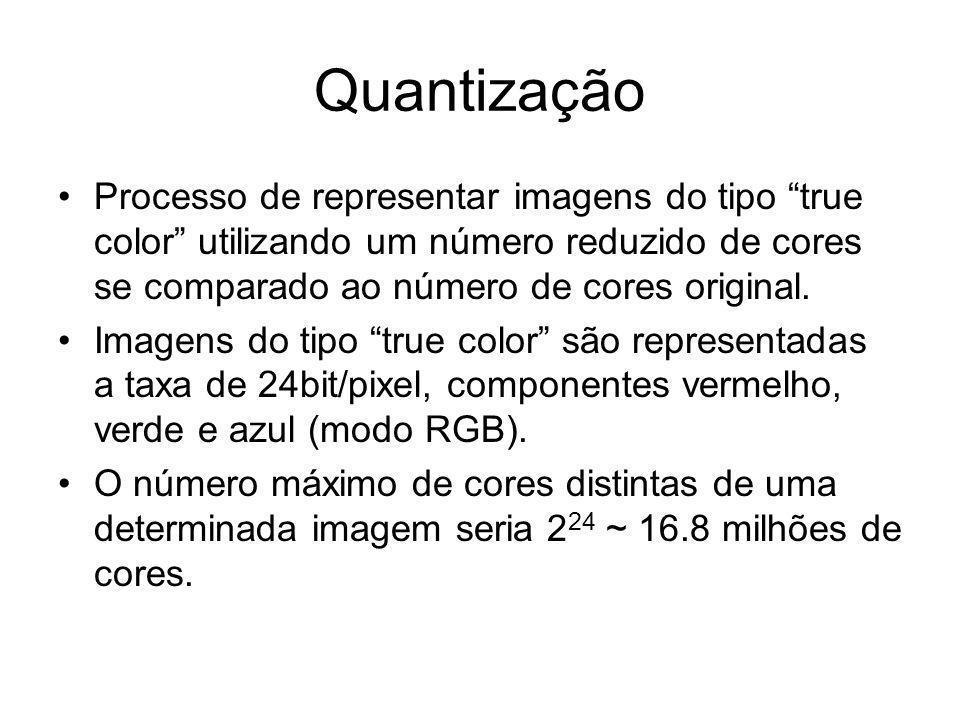 Quantização Processo de representar imagens do tipo true color utilizando um número reduzido de cores se comparado ao número de cores original.