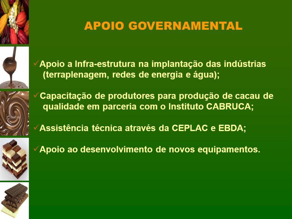 APOIO GOVERNAMENTAL Apoio a Infra-estrutura na implantação das indústrias. (terraplenagem, redes de energia e água);