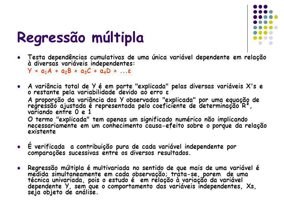 Regressão múltipla Testa dependências cumulativas de uma única variável dependente em relação à diversas variáveis independentes: