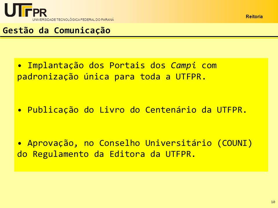 Publicação do Livro do Centenário da UTFPR.