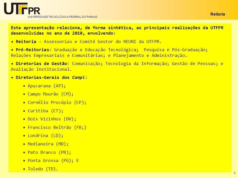 Reitoria – Assessorias e Comitê Gestor do REUNI da UTFPR.