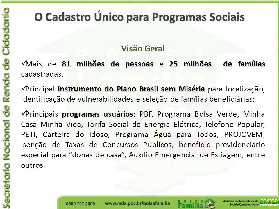O Cadastro Único para Programas Sociais