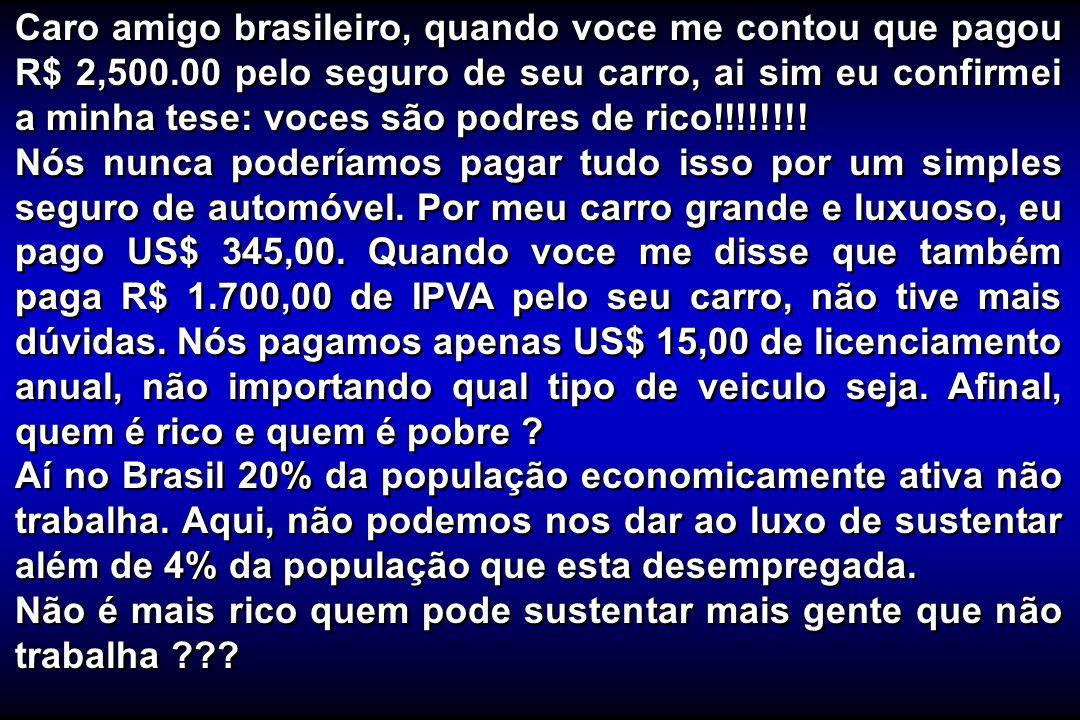 Caro amigo brasileiro, quando voce me contou que pagou R$ 2,500