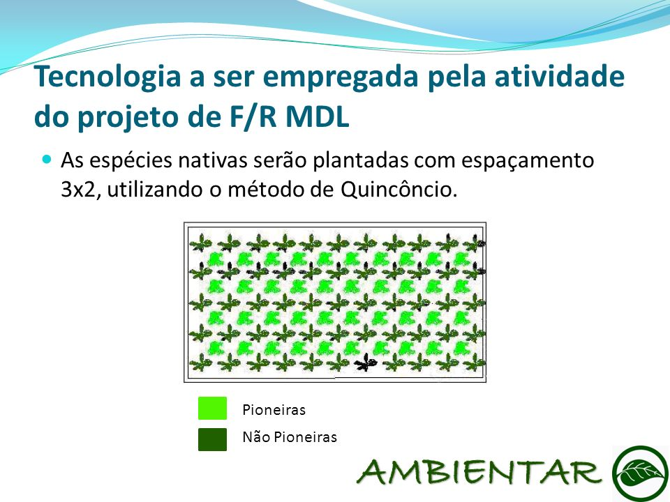 Tecnologia a ser empregada pela atividade do projeto de F/R MDL