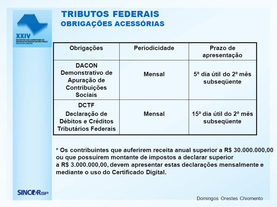TRIBUTOS FEDERAIS OBRIGAÇÕES ACESSÓRIAS Obrigações Periodicidade