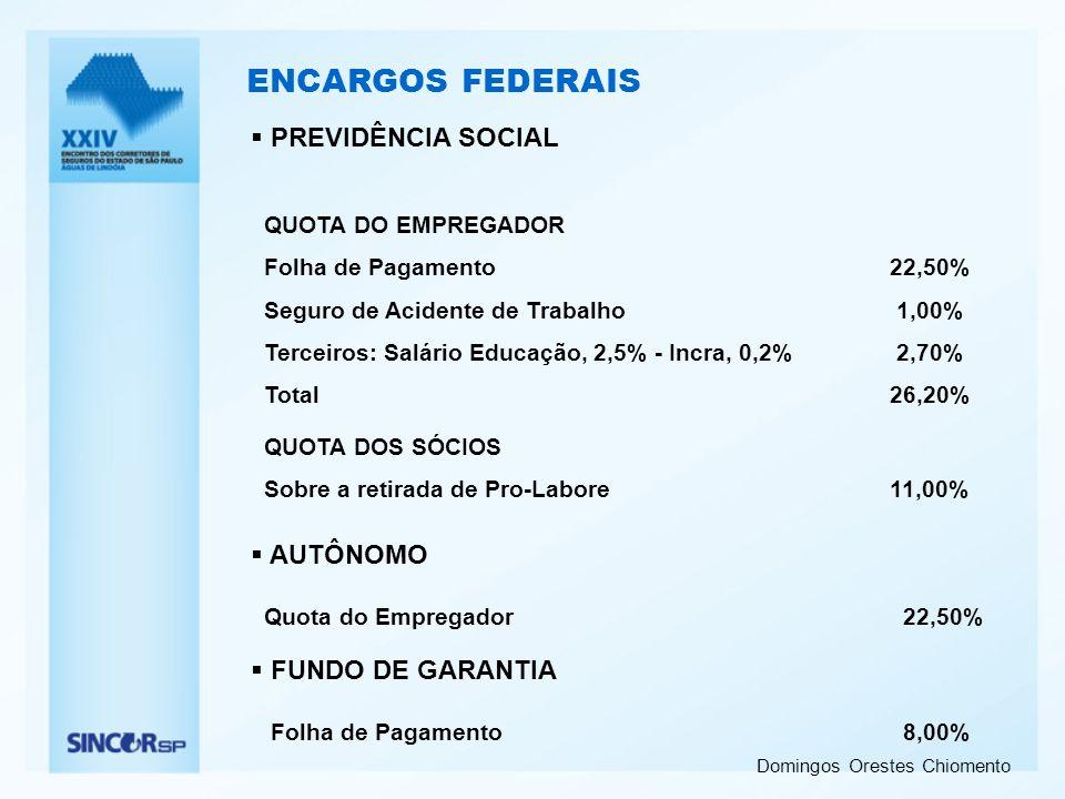 ENCARGOS FEDERAIS PREVIDÊNCIA SOCIAL AUTÔNOMO FUNDO DE GARANTIA