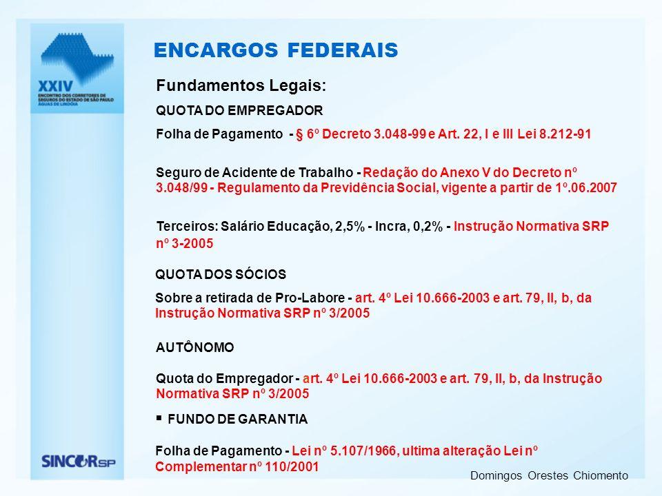 ENCARGOS FEDERAIS Fundamentos Legais: FUNDO DE GARANTIA
