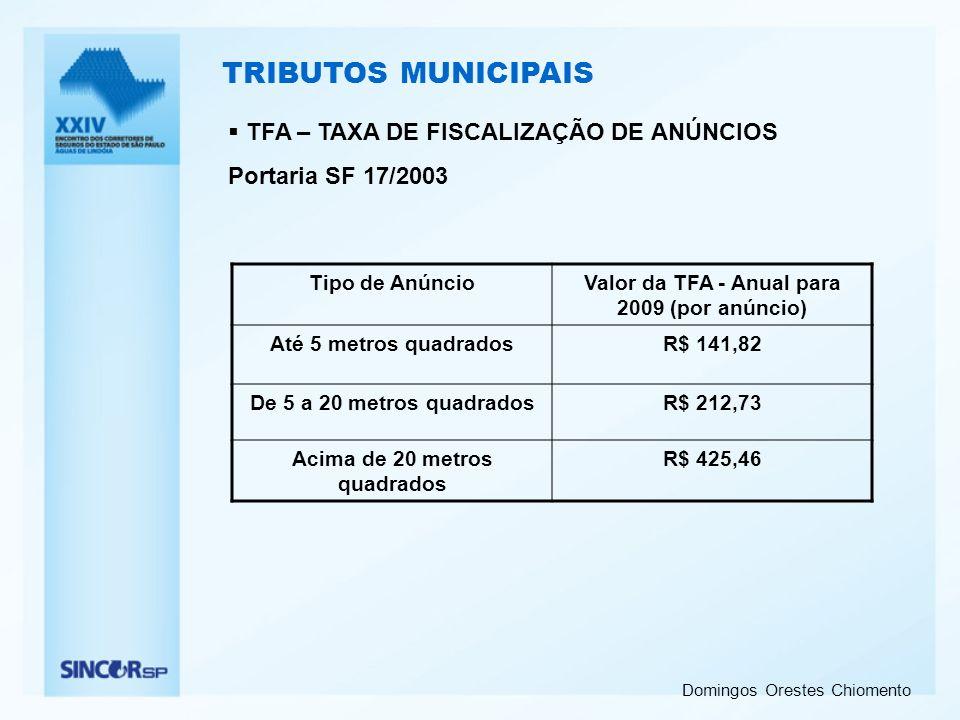 TRIBUTOS MUNICIPAIS TFA – TAXA DE FISCALIZAÇÃO DE ANÚNCIOS