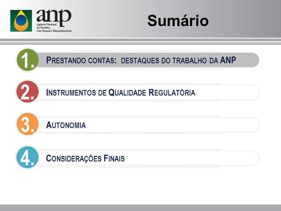Sumário 1. Prestando contas: destaques do trabalho da ANP. 2. Instrumentos de Qualidade Regulatória.