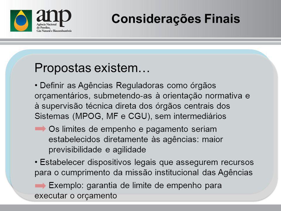 Considerações Finais Propostas existem…