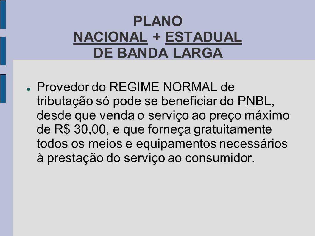 PLANO NACIONAL + ESTADUAL DE BANDA LARGA