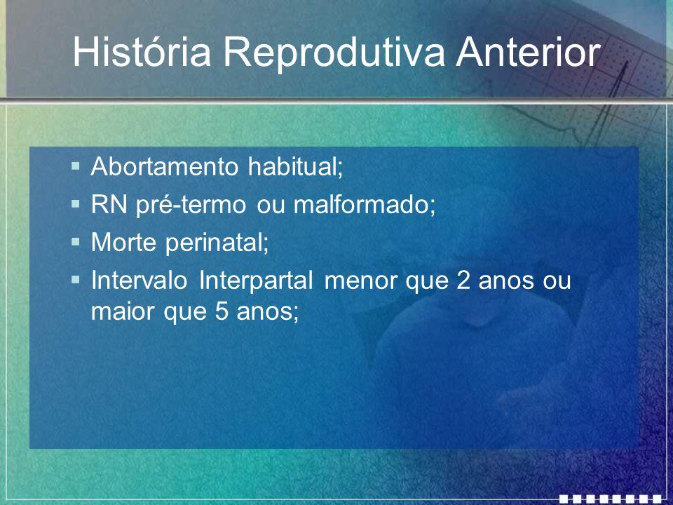 História Reprodutiva Anterior