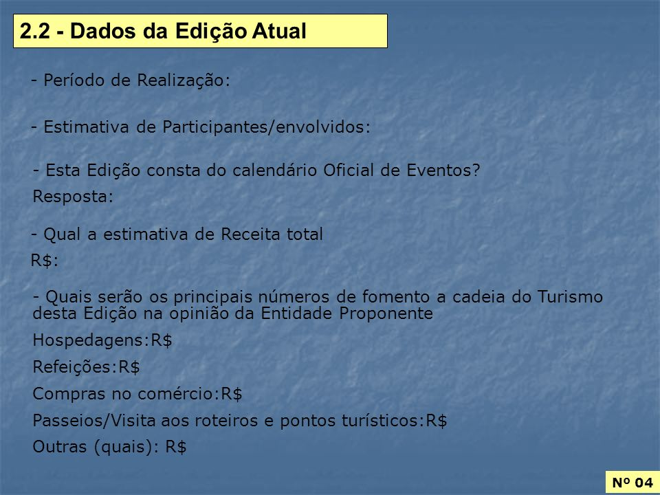 2.2 - Dados da Edição Atual Período de Realização: