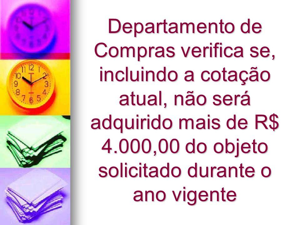 Departamento de Compras verifica se, incluindo a cotação atual, não será adquirido mais de R$ 4.000,00 do objeto solicitado durante o ano vigente