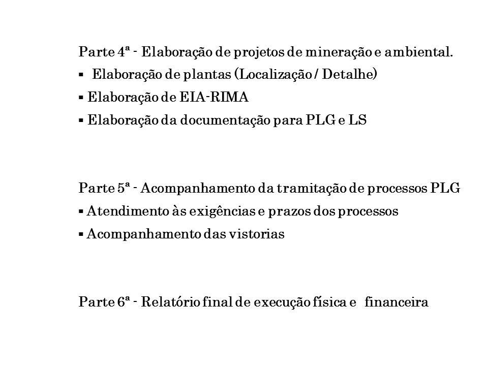 Parte 4ª - Elaboração de projetos de mineração e ambiental.