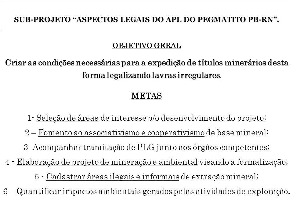 SUB-PROJETO ASPECTOS LEGAIS DO APL DO PEGMATITO PB-RN .