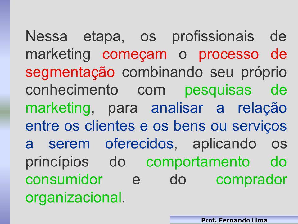 Nessa etapa, os profissionais de marketing começam o processo de segmentação combinando seu próprio conhecimento com pesquisas de marketing, para analisar a relação entre os clientes e os bens ou serviços a serem oferecidos, aplicando os princípios do comportamento do consumidor e do comprador organizacional.