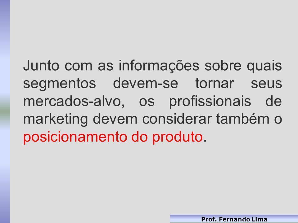 Junto com as informações sobre quais segmentos devem-se tornar seus mercados-alvo, os profissionais de marketing devem considerar também o posicionamento do produto.