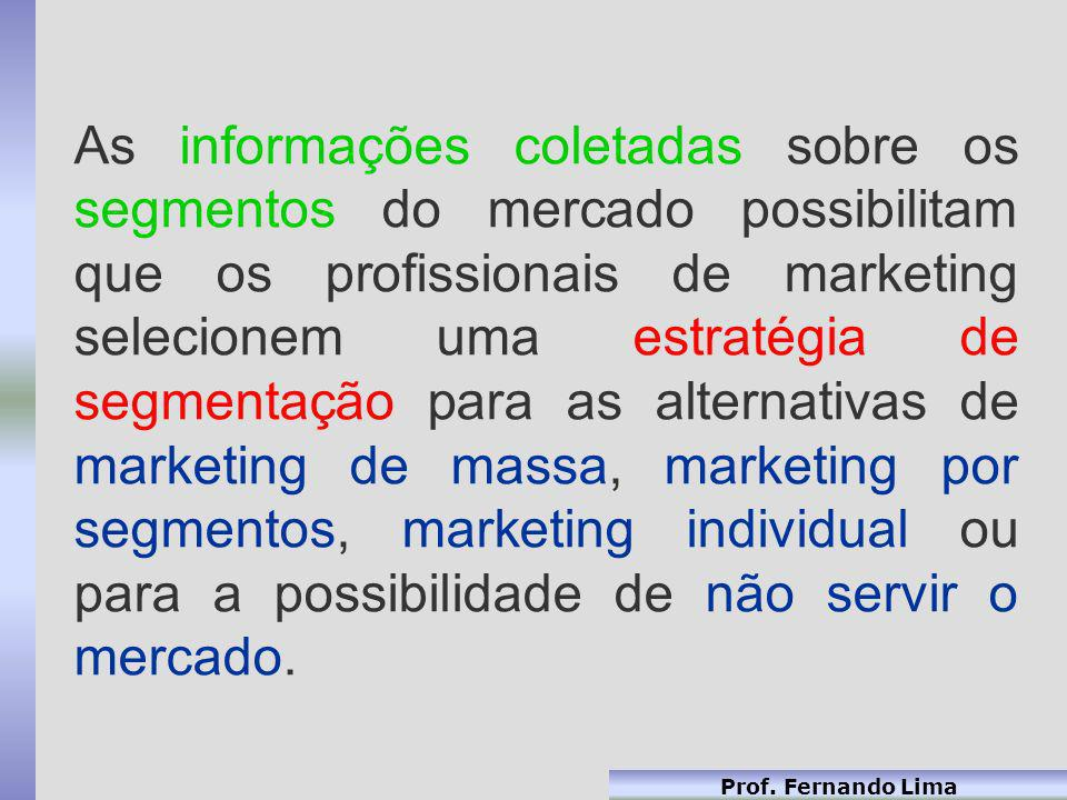 As informações coletadas sobre os segmentos do mercado possibilitam que os profissionais de marketing selecionem uma estratégia de segmentação para as alternativas de marketing de massa, marketing por segmentos, marketing individual ou para a possibilidade de não servir o mercado.