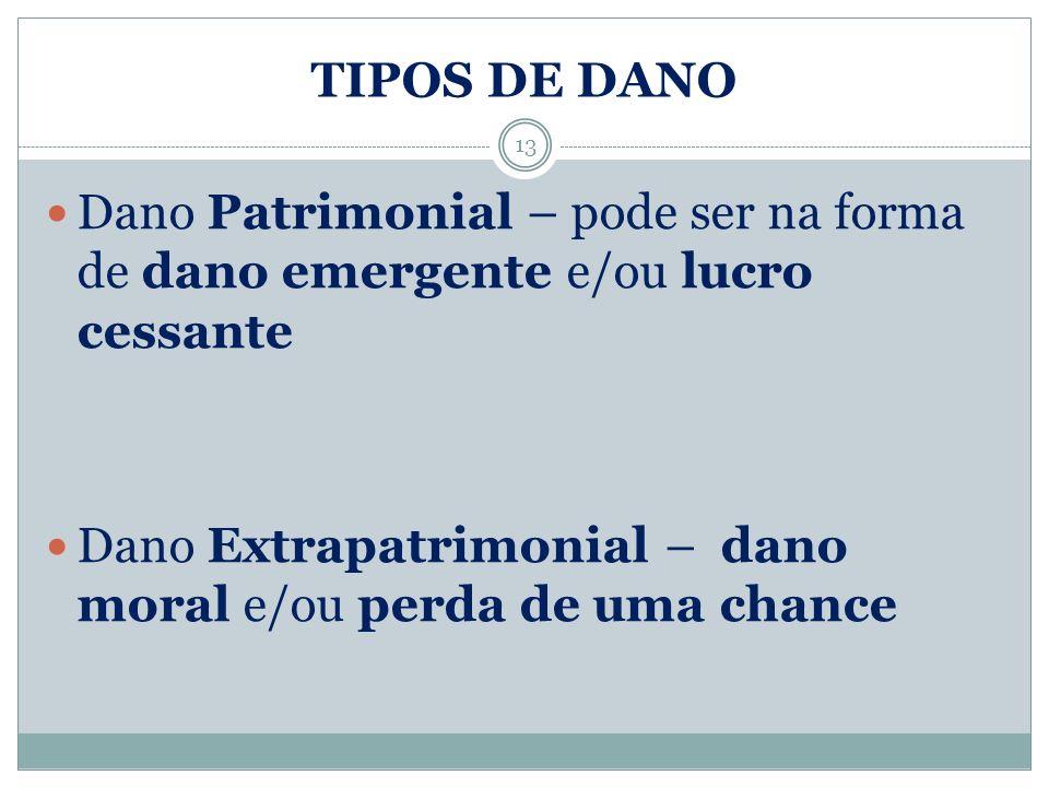 TIPOS DE DANO Dano Patrimonial – pode ser na forma de dano emergente e/ou lucro cessante.