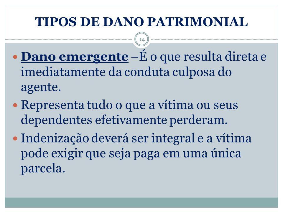 TIPOS DE DANO PATRIMONIAL