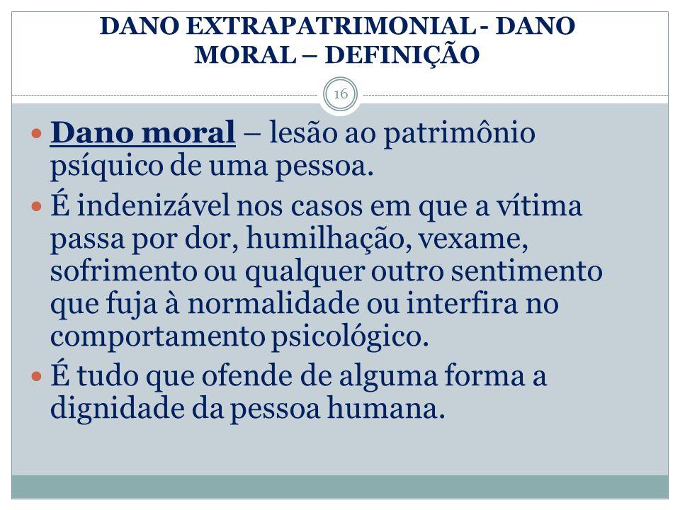 DANO EXTRAPATRIMONIAL - DANO MORAL – DEFINIÇÃO