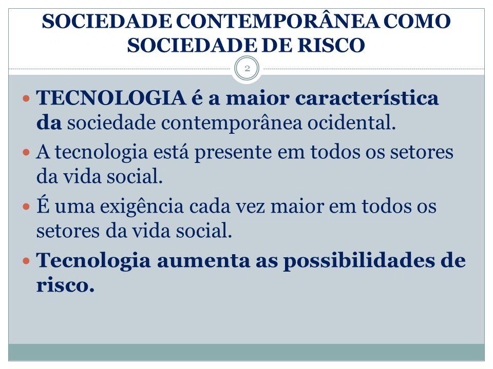SOCIEDADE CONTEMPORÂNEA COMO SOCIEDADE DE RISCO