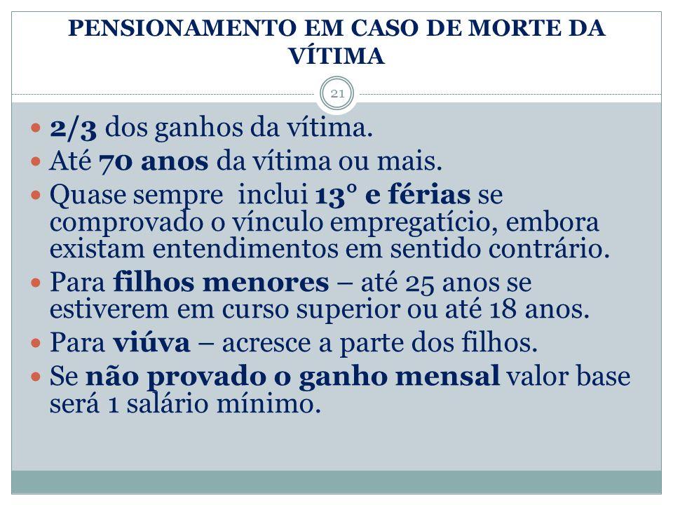PENSIONAMENTO EM CASO DE MORTE DA VÍTIMA
