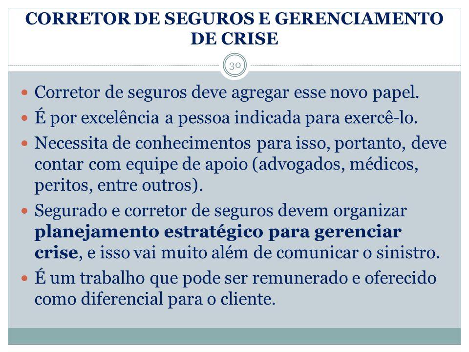 CORRETOR DE SEGUROS E GERENCIAMENTO DE CRISE
