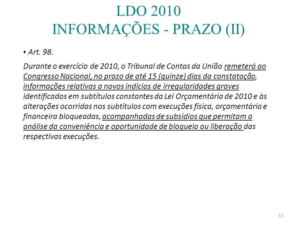 LDO 2010 INFORMAÇÕES - PRAZO (II)