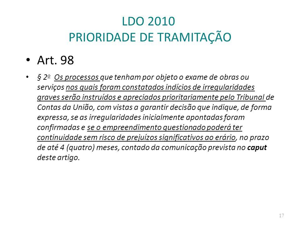 LDO 2010 PRIORIDADE DE TRAMITAÇÃO